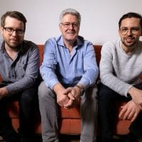 Bild Christoph Muck und Florian Richling von ForTunes, mit Albert Manzinger von PhonoNet Austria in der Mitte